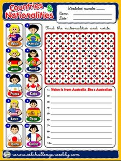#COUNTRIES AND NATIONALITIES - WORKSHEET 4