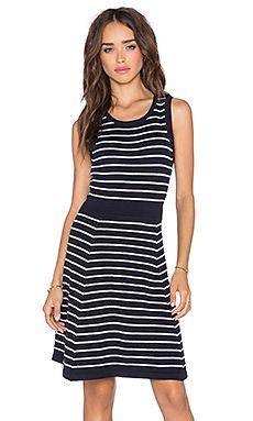 harlyn Fit & Flare Dress in Navy Stripe
