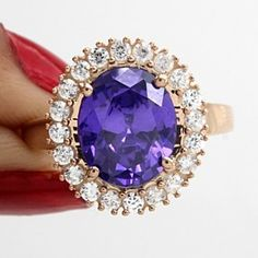 7.24 Ct Oval Cut Amethyst & White Topaz 18K Rose Gold Over Silver Halo Ring by JewelryHub on Opensky
