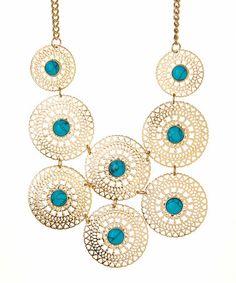Look at this #zulilyfind! Turquoise Filigree Necklace #zulilyfinds