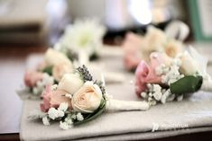Pale pink and blush wedding. Roses & babies breath boutonnieres.  sevenstemsdesign.com