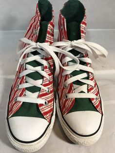 CONVERSE ALL STAR CHUCK TAYLOR Candy Cane High Top Sneakers Women s 8 Mens 6 7337dbe1e