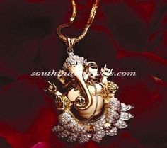 Diamond and gold Lord Ganesha Pendant. Gold Earrings Designs, Gold Jewellery Design, Gold Jewelry, Designer Jewellery, Pearl Jewelry, Gold Necklace, Pearl Earrings, India Jewelry, Temple Jewellery