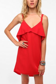 Pins and Needles Silky Ruffle Top Dress