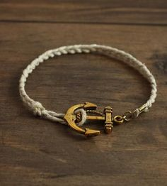 LATEST Gold Anchor Cord Bracelet