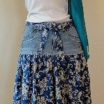 Reworked Jeans Skirt - Denim and Paisley Border Print Cotton