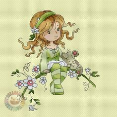 Little girl in green cross-stitch Cross Stitch Fairy, Cross Stitch Angels, Cross Stitch For Kids, Cross Stitch Kits, Cross Stitch Designs, Cross Stitch Patterns, Cross Stitching, Cross Stitch Embroidery, Embroidery Patterns