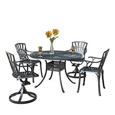 Bowery Hill 5 Piece Patio Dining Set in Charcoal *** Read more  at the image link. (This is an Amazon affiliate link and I receive a commission for the sales and I receive a commission for the sales)