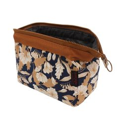 Portable Makeup Bag Travel Toiletry Bag Multifunction Cosmetic Bag Brush Pouch Waterproof Train Carry Case Pencil Holder for Women Girls (Brown Flower)