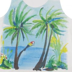 Seas Side Parrots Palm Tree Top White  G.KERO