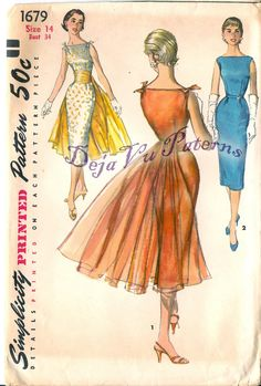 Simplicity 1679 Vintage 1950s Evening Dress Sewing Pattern by DejaVuPatterns