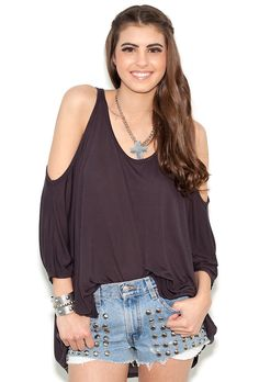 Michael Lauren Morris Oversized Open Shoulder Tee in Coal