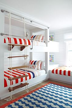 When you select your bunk beds, you should then always think of the most appropriate portion of the room to set them. The bunk beds are so helpful for elders also. Bunk beds for… Continue Reading → Beach House Bedroom, Beach House Decor, Home Bedroom, Kids Bedroom, Bedroom Decor, Home Decor, Bedroom Ideas, Bed Ideas, Kids Rooms