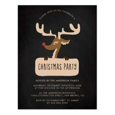 Chalkboard & Reindeer Christmas Party Invitation Postcard - christmas cards merry xmas diy cyo greetings