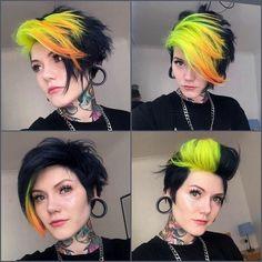 Edgy Haircuts, Short Punk Hairstyles, Punk Pixie Haircut, Hair Color Purple, Punk Hair Color, Edgy Hair Colors, Neon Hair, Haircut And Color, Aesthetic Hair
