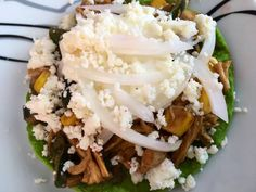 Queso Fresco, Mole, Grains, Tostada Recipes, Breast, Chilis, Meals, Prickly Pear Cactus, Mexican Meals
