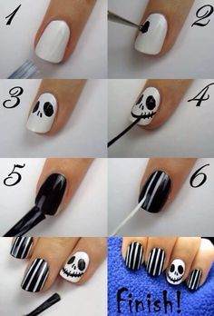Nightmare Before Christmas Nails skulls stripes