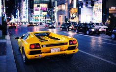Wallpaper Yellow Monkey Lamborghini Diablo on the streets of Japan. Lamborghini Diablo, Lamborghini Aventador, Ferrari, Maserati, Bugatti, Supercars, Super Car Racing, Sport Cars, Race Cars
