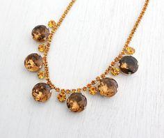 SALE  Vintage Golden Orange Topaz Rhinestone by MaejeanVINTAGE, $50.00