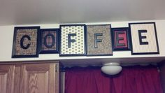 Picture frames with letter pictures Coffee decor. Took black frames, black letters and scrap book paper. Hot glued everything and hung. Kitchen Decor Themes, Home Decor Kitchen, Diy Kitchen, Diy Home Decor, Kitchen Ideas, Kitchen Black, Kitchen Design, Coffee Theme Kitchen, Cafe Themed Kitchen