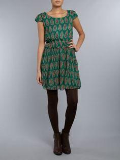 Jolie Moi Vintage Leafy Dress Green - House of Fraser