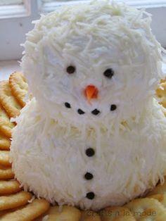 snowman cheeseball with mozzarella cheese
