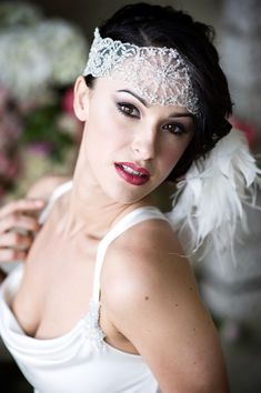 Gorgeous 1920s inspired headpiece, from 'Jet Deco - The Gracefully Elegant New Bridal Wear Collection For 2014 From Terry Fox' on Love My Dress, www.lovemydress.net.  Photographer + Film - http://www.careysheffield.com/ Bridal wear - Thttp://www.terryfox.co.uk/ Stylist - http://thebijoubride.com/ Headpieces - http://www.donnacrain.com/ Makeup Artist - http://www.gemmasutton.com/