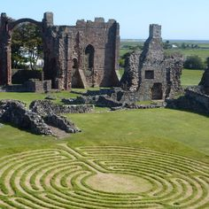 Lindisfarne Priory. 11 circuit labyrinth in a stunning setting. {the maintained and crumbling butted up against one another}