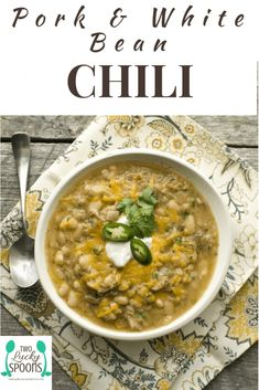 Pork and White Bean Chili made from scratch is a great way to use up leftover pulled pork! Healthy and filling recipe using dried beans! Leftover Pork Recipes, Healthy Pork Recipes, Beef Recipes For Dinner, Leftovers Recipes, Healthy Soups, Healthy Pulled Pork, Pulled Pork Recipes, Pulled Pork Chili, Dried White Beans Recipe