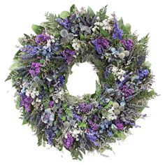 Bring a garden-fresh touch to your kitchen or master suite wall with this beautiful wreath, showcasing an array of preserved thistle, caspia, and hydrangea. ...