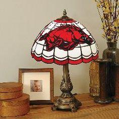 Memory Company Arkansas Razorbacks Stained Glass Table Lamp