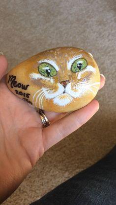 Cat painted rock!