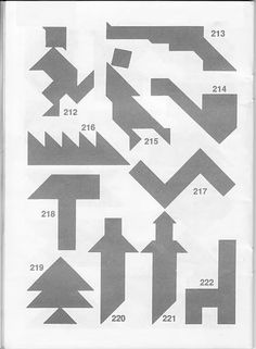 Figuras-para-el-Tangram-con soluciones Logic Puzzles, Nouvel An, Brain Teasers, Origami, Hobby, Wooden Bookcase, Plays, Gadgets And Gizmos, Math Games