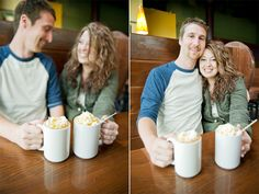 Coffee loving engagement session at the Acoustic Cafe in Eau Claire by Wisconsin wedding photographer Kate Bentley.