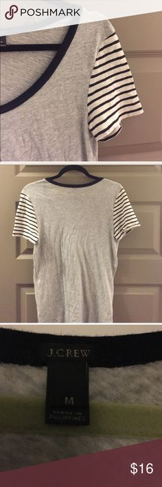 J.crew t shirt Never worn. Excuse the wrinkles as it was folded a way and not worn. Size medium, super soft and stretchy. Navy and white striped on shoulders. J. Crew Tops Tees - Short Sleeve