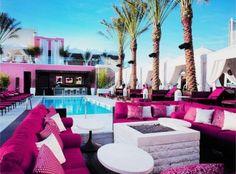 A beautiful pink patio/pool area