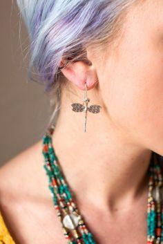 Thai Silver Dragonfly Earrings - Dharmashop.com
