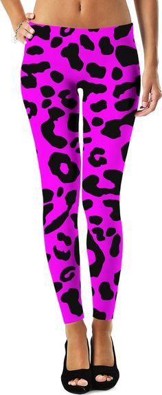 Killer pink leopard leggings, black asymetric spots pattern at saturated purple Leopard Leggings, Girls Leggings, Printed Leggings, Black Leggings, Leggings Style, Purple Leggings, Capri Leggings, Women's Fashion Leggings, Pink Leopard