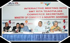 Distnguished Panelists On The Dais At The Interactive Meeting with Smt Rita Teaotia,IAS, Commerce Secretary, Department of Commerce, Ministry of Commerce & Industry, Government of India organized by FIEO jointly with EEPC India Assocham, BCCI and GJPEC . Shri Arun Kumar Garodia, Regional Chairman,EEPC India (ER) , Shri Ramesh Kumar Agarwal, Regional Chairman, FIEO (ER); Shri Prakash Chandra Pincha, Regional Chairman GJEPC; Shri Sanjay Jhunjhunwalla, Chairman Eastern Region, ASSOCHAM; Shri…