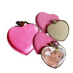 Espejo de corazon con estuche de piel. Fotorecuerdo.com.mx Coin Purse, Purses, Wallet, Mirrors, Hearts, Fur, Handbags, Purse, Bags