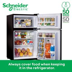 Always cover food when keeping it in the refrigerator. This prevents food from losing moisture and helps the compressor to work efficiently. Make these small energy saving steps as your habit and help Schneider Electric save energy 50 million kWh energy. Begin by taking the pledge at https://www.facebook.com/SchneiderElectricIN/app_190653894440462