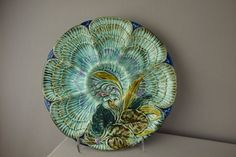 """French majolica oyster plate with 6 wells, 10"""", ( : Lot 699"""