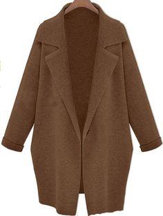 #SheInside Coffee Lapel Long Sleeve Loose Trench Coat