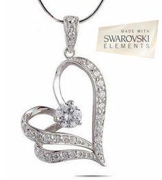 18K White Gold Swaorvski Elements Floating Heart Necklace - Save 81% only $18.00