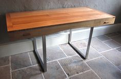 Desk made of oak with stainless steel legs designed and made by David Towers cabinet-maker www.davidtowers.biz