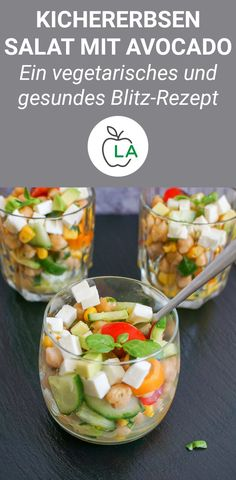 Kichererbsensalat mit Feta und Avocado – Vegetarisch & einfach A crisp chickpea salad that is low in calories, vegetarian and healthy. Here you will find the complete recipe, which is even vegan without feta. Salad Recipes Healthy Lunch, Salad Recipes For Dinner, Chicken Salad Recipes, Easy Healthy Recipes, Vegetarian Recipes, Vegan Vegetarian, Salads For A Crowd, Food For A Crowd, Easy Salads