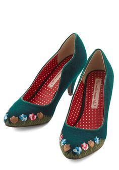 I'll Grow You the Way Heel by Bait Footwear - Mid, Woven, Green, Solid, Floral, Embroidery, Party, Work, Darling, Better