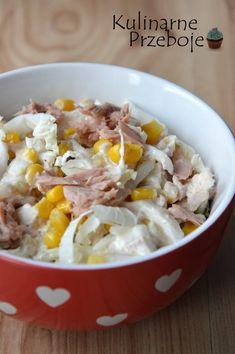 Sałatka z tuńczykiem i kapustą pekińską Salad Recipes, Potato Salad, Oatmeal, Grilling, Food Porn, Food And Drink, Rice, Tasty, Meals