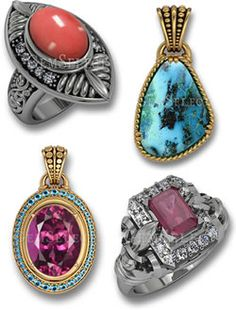 Coral, Azurite, Rhodolite and Ruby Jewelry for Summer
