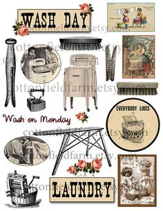 vintage wash day laundry | Vintage Laundry Wash Day Clip Art C-321 for Scrapbooking, Journals ...